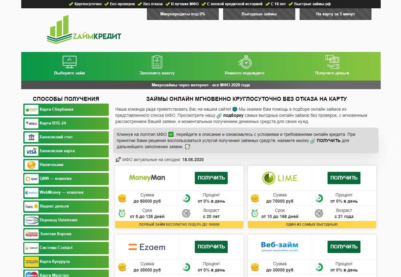 займ на карту 80000 рублей на год